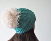 Emerald Knit Beanie Hat with huge Pom Pom, Slouchy Beanie Hat, Pom Pom Hat, Emerald Green