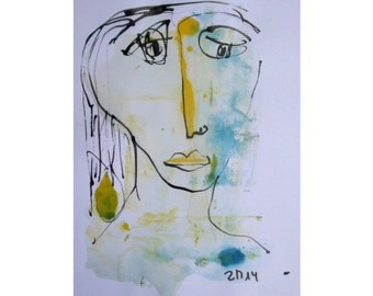 pastel lady  - Original Drawing with colored Ink and Bambu-Stick - free shiping  11,81 x 8,27 inch