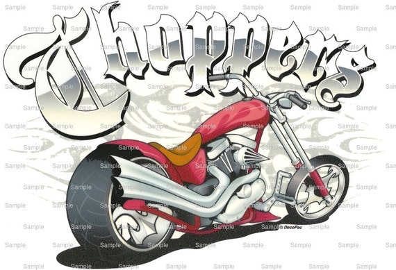Motorcycle Chopper Birthday - Edible Cake and Cupcake Topper For Birthday's and Parties! - D1400