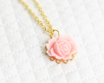 Girls Pink Rose Necklace, Girls Flower Necklace, Resin Flower Necklace, Rose Cabochon Necklace
