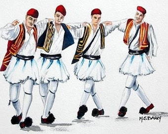 Dancing Evzones: A watercolor print from an Original painting of Greek dancers in National costumes.