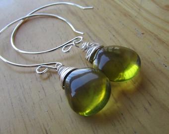 Smooth Sterling Silver DangleSmooth  Olive Teardrop Glass Earrings