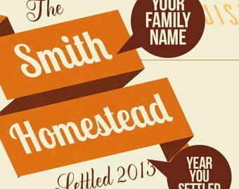 State  Map, Personalized Family name banner.