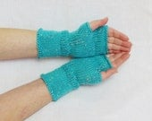 turquoise mittens,blue mittens,fingerless gloves,arm warmers,accessories,wrist warmers,knit fingerless gloves,wool cable knit,hand warmers - HandMadeLana