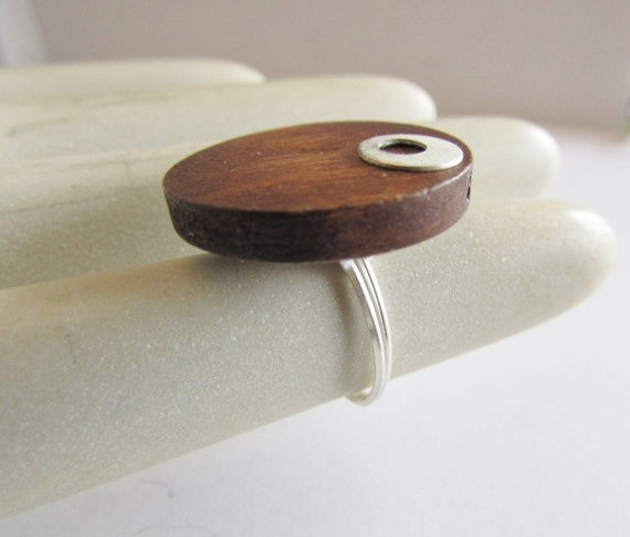 Modern Wood Circle Ring, Sterling Silver and Wood Ring,Wood Sterling Minimalist Ring