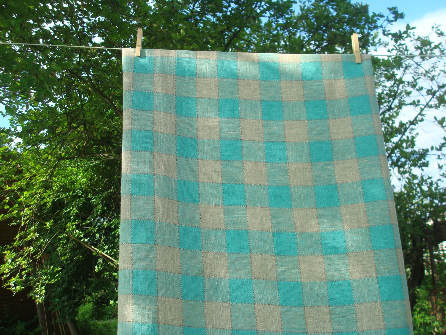 Checkered Cloth Tablecloth : Checkered Burlap Linen Tablecloth Aqua & Gray by MilaStyle on Etsy
