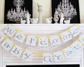 Baby Shower Decor/Welcome Baby Banner Decoration, Baby Shower Banner/Nursery Decor/Birth Announcement, polka dots banner, choose the colors