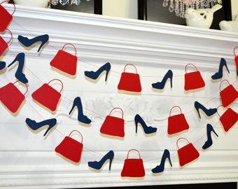 Shoes and purses garland, fashionista decoration, fashion show decor, shoe purse lover, birthday garland, window display