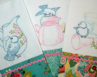 Bluebird Tea Towels Set of 3