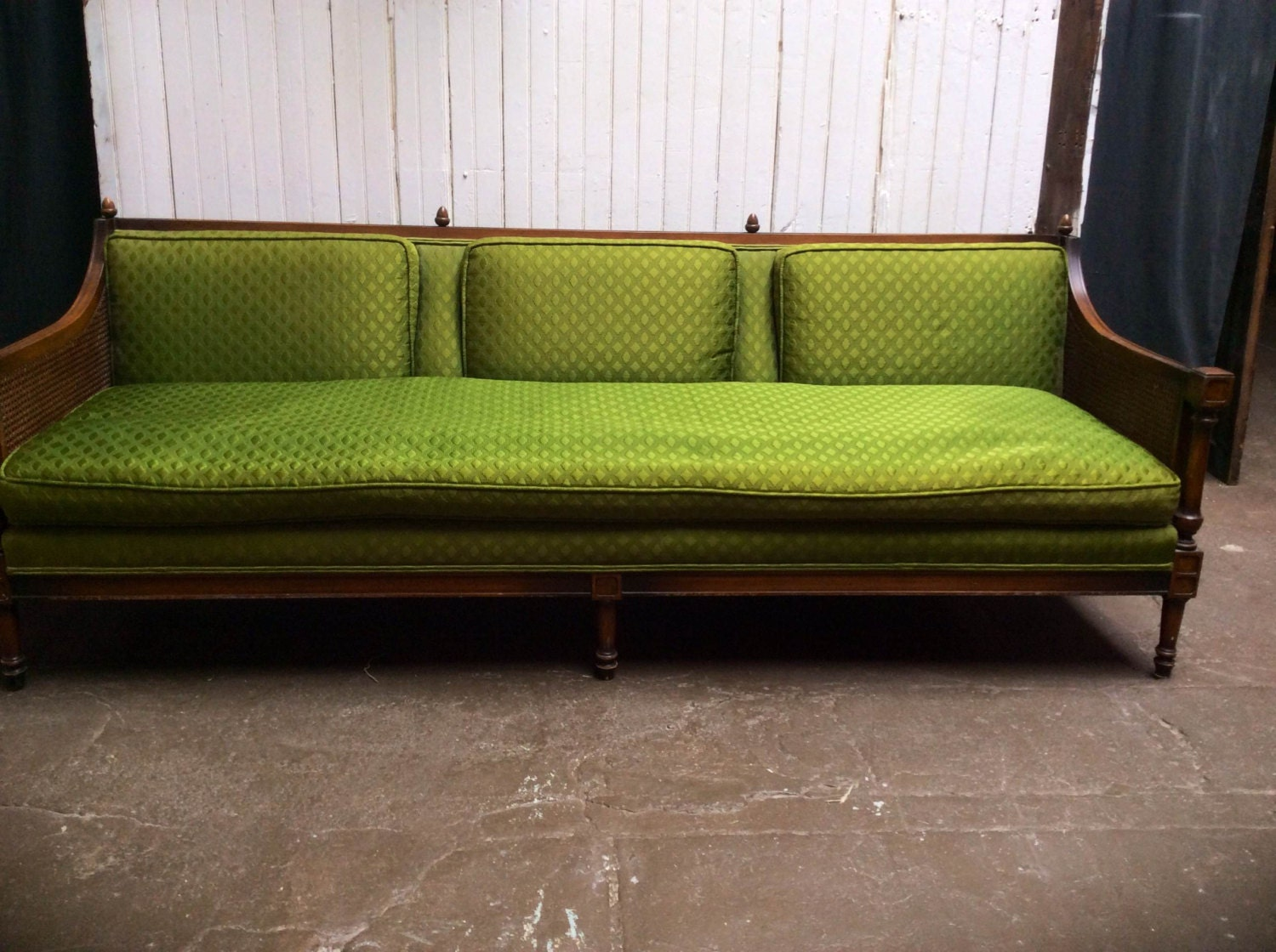 cane sided couch mid century modern french style sofa couch Cane Back Sofa Bernhardt Mid Century Cane Back Sofa