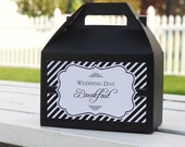 Set 12 Wedding Day Breakfast Box - or favor box - gable box with custom label