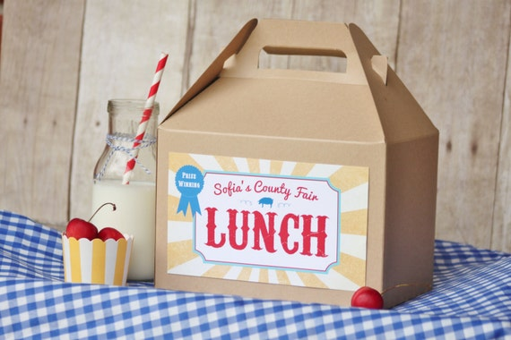 Set 15 Kraft Gable Lunch Boxes With Custom Labels County
