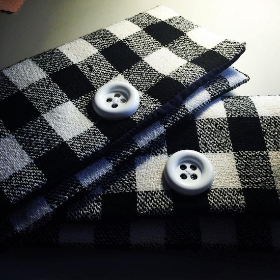 Black and White Plaid Clutch