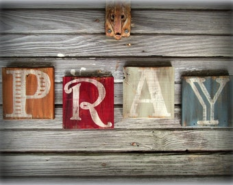 PRAY Reclaimed Wood Inspiration Christian Rustic Sign