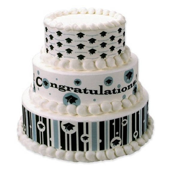 Edible Cake Images For Graduation : 3 Strips of Hats Off Graduation Design Edible by BigCatCrafts