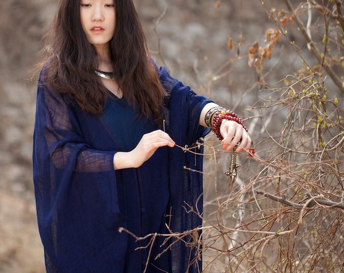 Long Linen outerwear - Overclothes beach - Grand V neck - Summer overclothes - Semi-transparent linen - Made to order