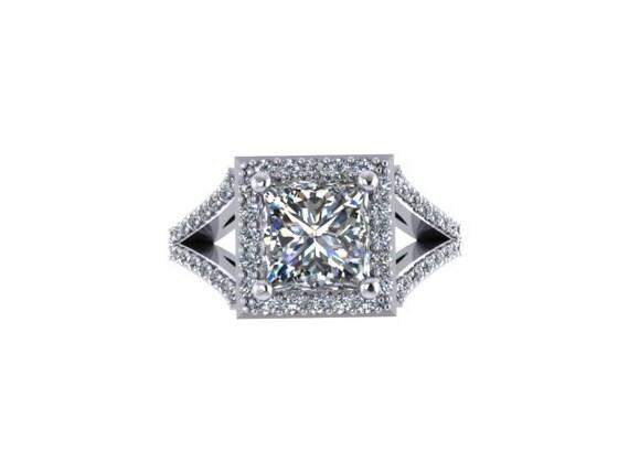 Moissanite Engagement Ring Princess Cut Diamond Engagement Ring 14K ...