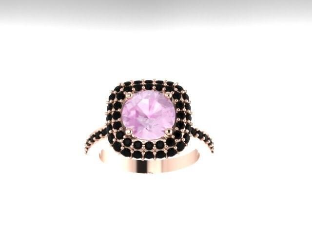 Black diamond halo engagement ring by jewelryartworkbyvick on etsy