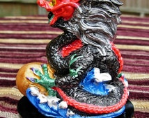 Handmade FENG SHUI Ceramic Dragon Hand Painted BLACK small gemstone cabochon in mouth, 10cm x 8cm and available in 9 Colours of the Bagua