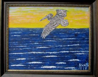 THE PELICAN Original Painting Framed 24x20 No. 484