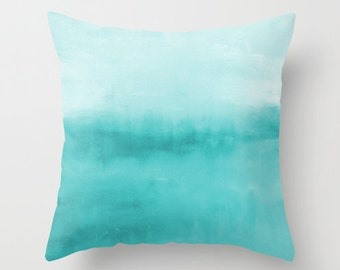 abstract throw pillow cover turquoise aqua teal modern home decor living room bedroom accessories cushion decorative