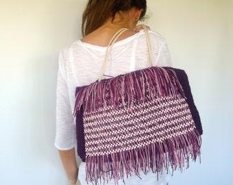 Handmade handbag in purple cotton. Knit handbag. Fashion knit bag. Summer handbag. Shoulder handbag. Shabby chic bag. Ready to ship