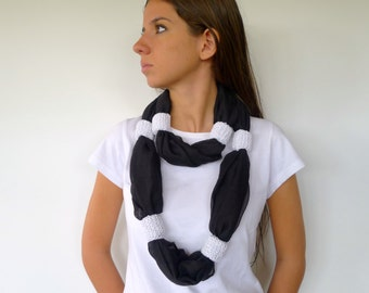 White black statement necklace. Knit scarf necklace. Unique handmade necklaces. Modern knitted jewelry. Gift ideas // Womens accesories