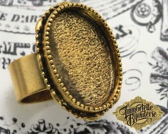 Adjustable Ornate Ring 25x18mm Ring Blank Nunn Design Antique Gold Large Oval - High End Ring Bezel - Ring Design - 1pc