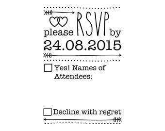 """CUSTOM RSVP RUBBER stamp - custom rsvp invitation stamp - wedding stamp, invitations stamp, custom invite stamp, card stamp, 2""""x3"""" (crsvp1)"""