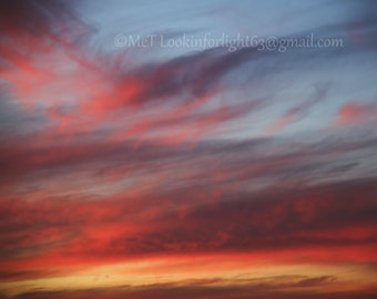 Abstract Sky Photo, Colorful Sunset Clouds, Red Pink Yellow art, Abstract Rothko Sky Art, California Sunset, Photo Art, Orange County Sunset