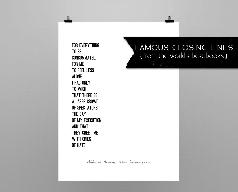 THE STRANGER // Albert Camus // quote poster // minimalist //