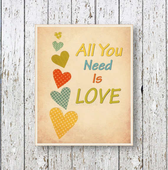 Wall Decor All You Need Is Love : All you need is love family room art kids wall by