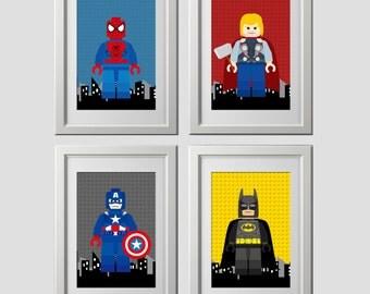 PRINTED superhero wall art prints, Avenger wall art prints, pick any 4 and background colors, spiderman batman bedroom wall art prints