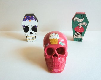 Hand painted Dia De Los Muertos Sugar Skull Candle holder & Candles
