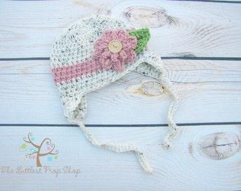 crochet baby hat-crochet baby girl flower hat-newborn baby toddler kids-choose your colors-knit flower hat-baby girl hat