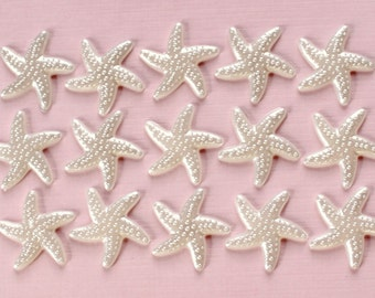 40 Pcs White Pearlized Starfish Cabochons - 19mm