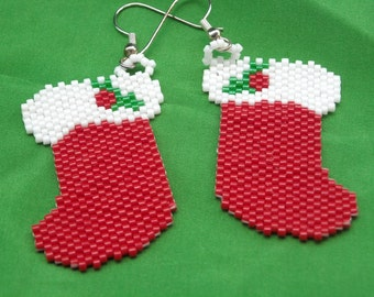 Christmas Stockings Beaded Dangle Earrings, Peyote Stitched, Delica Beads