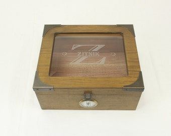 Personalized Humidor, The Newport White Oak 25-50 Cigar