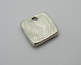 Fingerprint Jewelry, Square Fingerprint Charm, Personalized Charm, Silver Square Fingerprint, Men's Fingerprint Jewelry, Fingerprint for Men