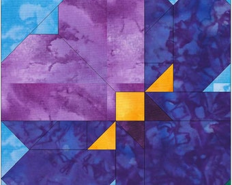 Pansy Paper Piece Foundation Quilting Block Pattern PDF