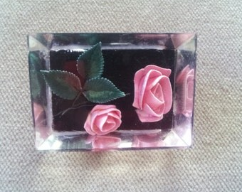 Vintage Lucite Rose Brooch Pin, 1950s