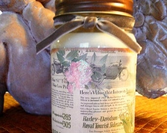 Shabby Chic Vintage Harley Davidson 16oz Natural Soy Candle in Your Choice of Scent