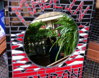 MADE IN LONDON Mosaic mirror with Red, Black and white pieces.