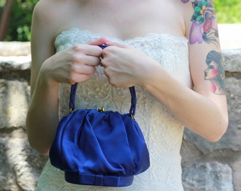 Vintage Cerulean Handbag // Blue Satin Bridal Handbag // Morris Moskowitz Handbag