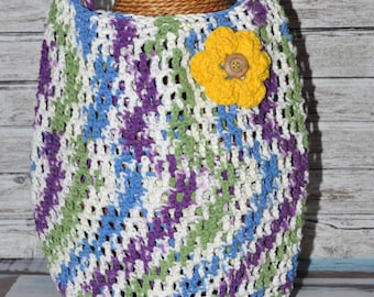 Crochet Bag - Purple, Blue, Green, White, and Yellow - Tote