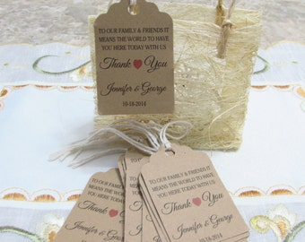 Personalized Favor Tags 2 1/2'', Wedding tags, Thank You tags, Favor tags, Gift tags, Bridal Shower Favor Tags, it means the world to us