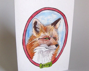 "Valentine's Day/I Love You/Anniversary ""Foxy"" Fox Card - Handmade and printed from original ink and gouache illustration"