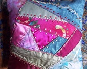 Stunning By Hand Crazy Quilt Pillow Decadent Vint & New Fabrics Silk, Batik, Velvet, Hand Dyed Embroidered Decorative Metallic Threads Beads