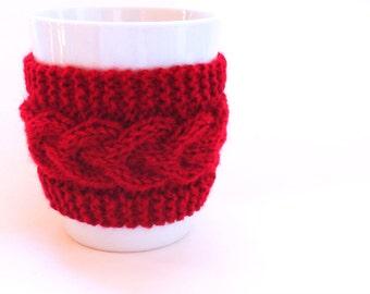 Knitted Red Mug Cozy, Mug Warmer, Mug Hug