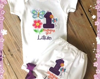 Spring First Birthday Onsie and Diaper Cover set